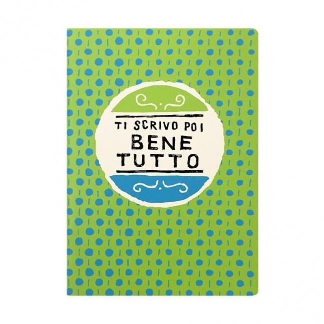 """Quaderno A5 """"Ti scrivo poi bene tutto"""", 48 pagg avorio, righe solo su lato destro"""