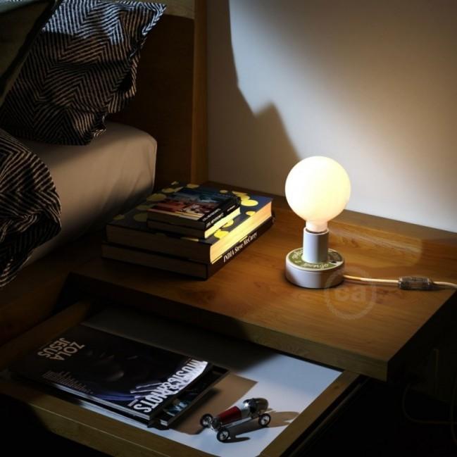 Posaluce avec MINI-UFO collection READING BALLSH*T mod. ADORO LEGGERE + 2 PAGINE, avec câble, interrupteur et fiche à 2 pôles