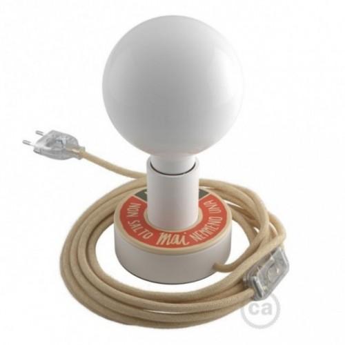 Posaluce avec MINI-UFO collection READING BALLSH*T mod. PAGINA+PROFUMO DELLA CARTA, avec câble, interrupteur et fiche à 2 pôles